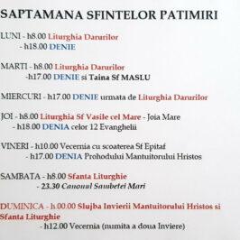 Program Liturgic in Saptamana Sfintelor Patimiri 2021